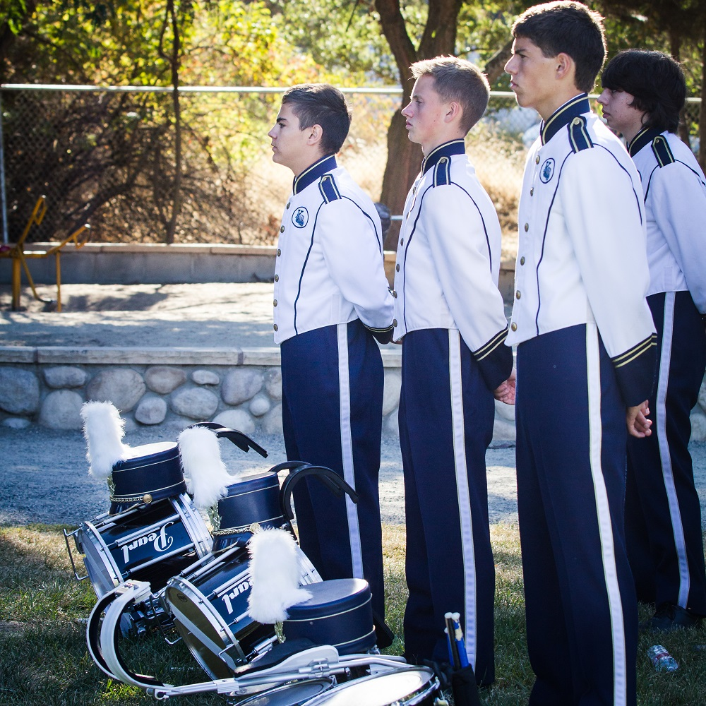 Members of the YHS Advanced Percussion Ensemble stand at attention during ceremonies for Patriot Day 2014 - photo by Virginia Lazar