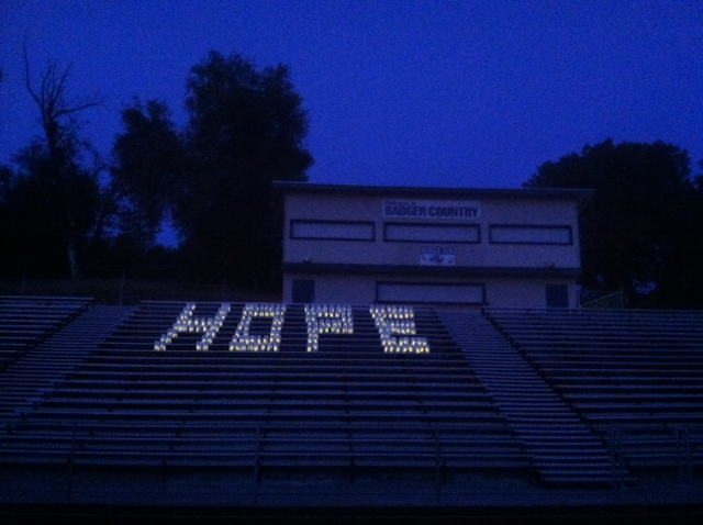 Luminarias spell out Hope -- Courtesy of Clara Briley