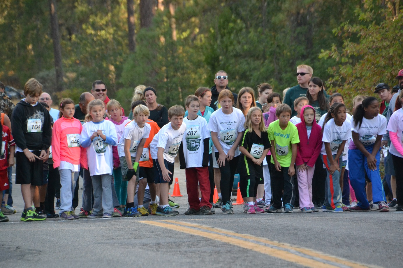 Kids 9-12 years at starting line photo by Gina Clugston