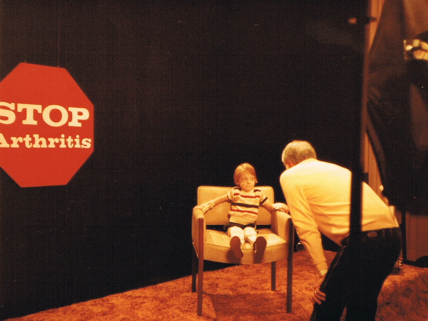 Mathew Sands on an Arthritis Research Foundation fundraising telethon in the early 1980s - courtesy of Mathew Sands