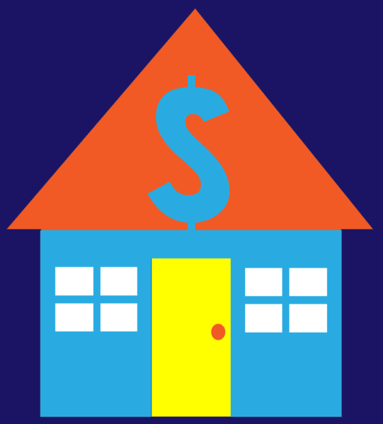 House with money sign - clip art - public domain via Wiki commons