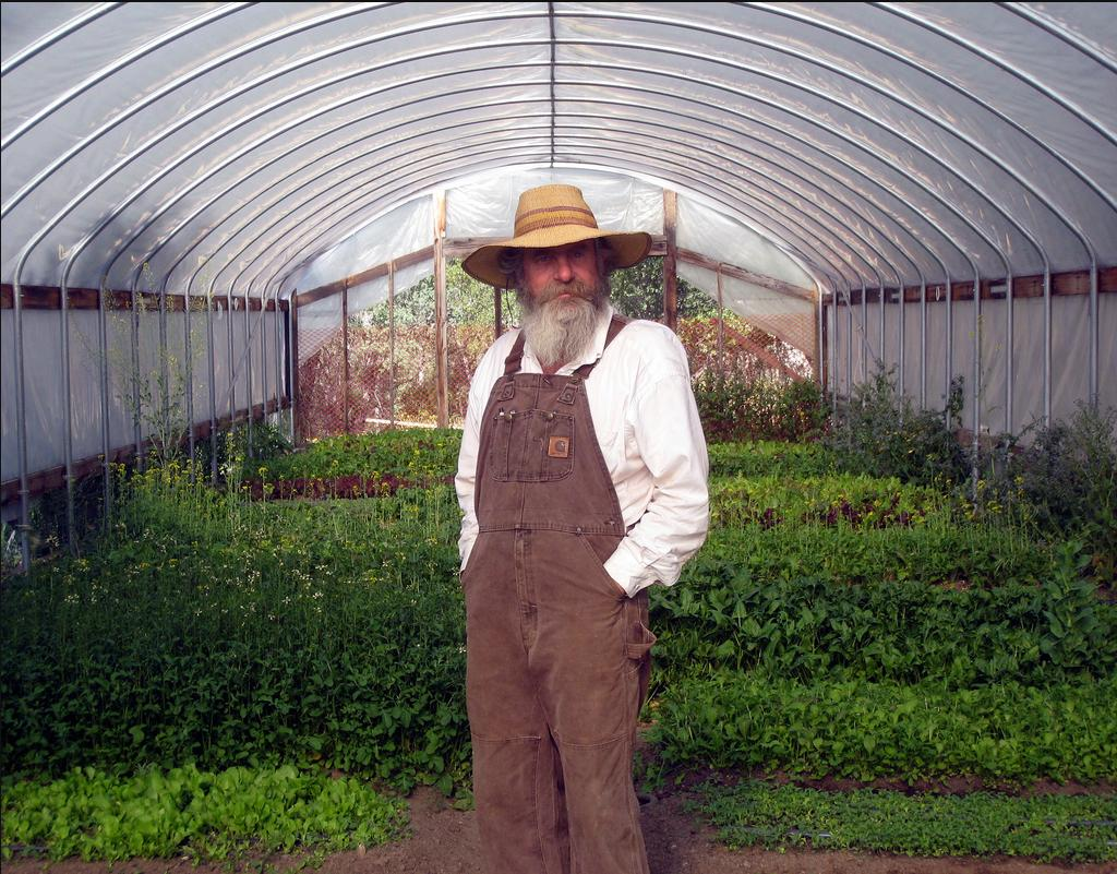 Hansel Kern in his greenhouse photo by David Gans
