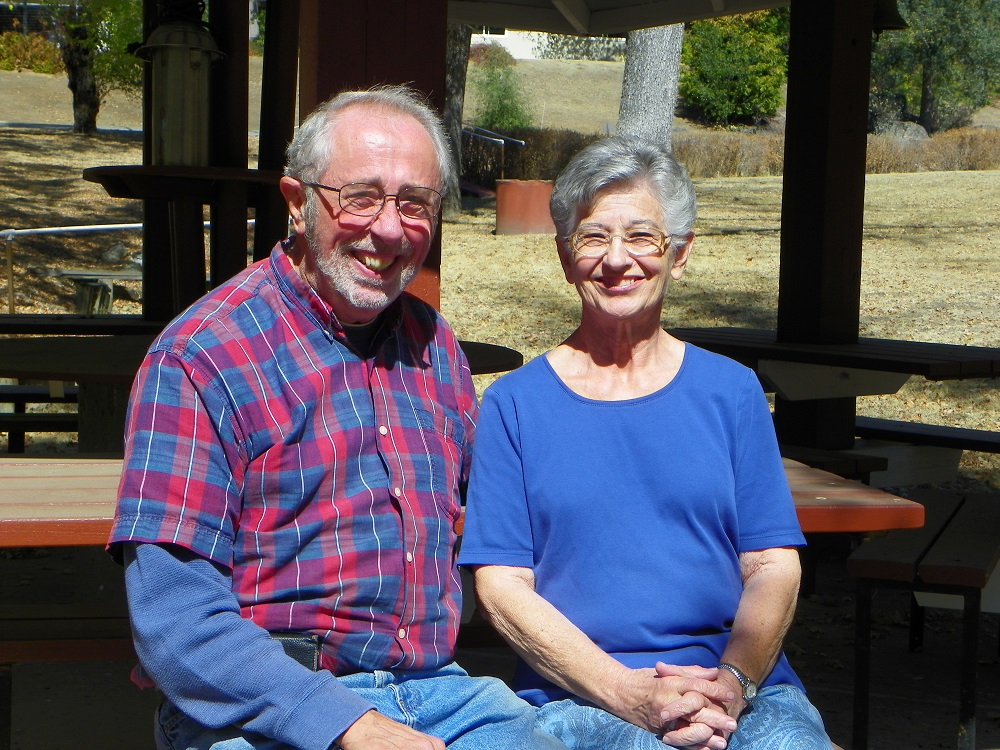 Waving Man Bill Briggs and spouse of 39 years Mary at their Gazebo in Coarsegold Sept 30 2014 - photo by Kellie Flanagan