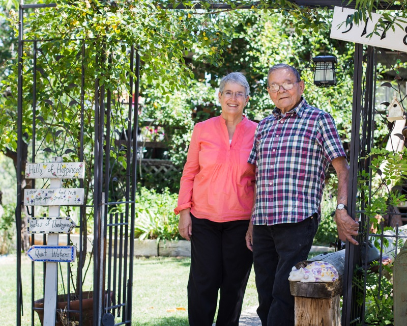 Susan and Julian Sargentini in front of their house on the hill of happiness - photo by Virginia Lazar